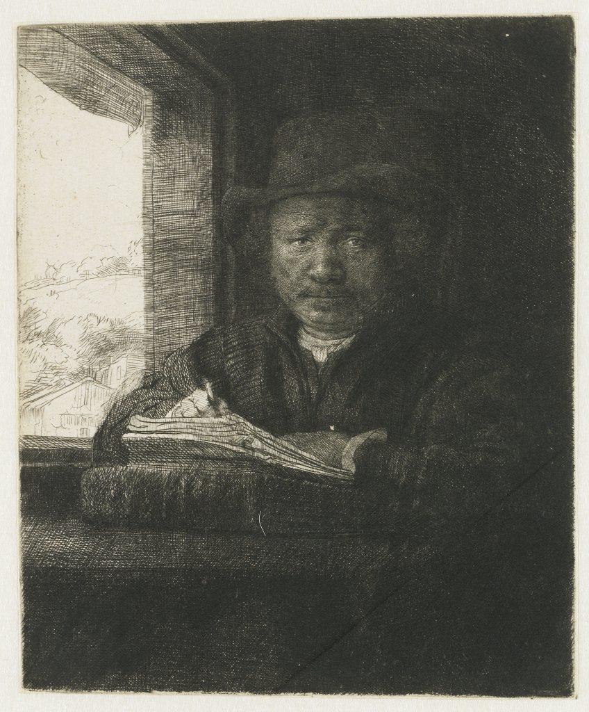 Rembrandt Zelfportret, etsend bij het raam, 1648